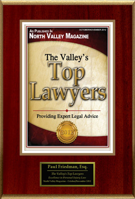 "Paul D. Friedman Selected For ""The Valley's Top Lawyers"".  (PRNewsFoto/American Registry)"