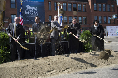 MGM Springfield breaks ground with Massachusetts Gaming Commission Chairman Stephen Crosby, MGM Springfield President Mike Mathis, MGM Resorts International Chairman and CEO Jim Murren, Mayor of Springfield Domenic Sarno and Associate Director of Revitalize CDC Ethel Griffin (from left to right).