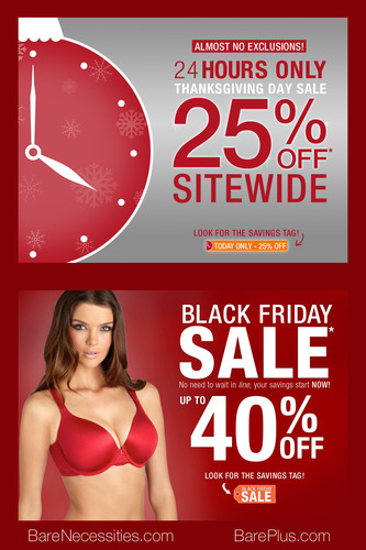 "Bare Necessities Announces ""24-Hour Thanksgiving Day Blowout"" and ""Up To 40% Off Black Friday ..."