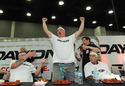 At the Mid-America Trucking Show in Louisville, Ky., Bridgestone held a buffalo wing eating contest. Roger Errett of Mount Pleasant, Penn.</a