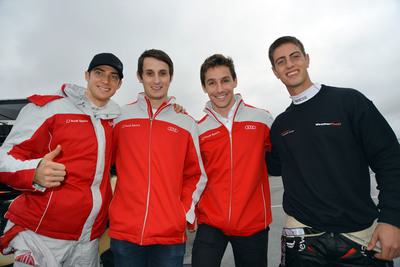 Audi R8 drivers Italian, Edoardo Mortara; Brit, Oliver Jarvis; Portuguese driver Filipe Albuquerque and South African Dion von Moltke. (PRNewsFoto/Alex Job Racing) (PRNewsFoto/ALEX JOB RACING)