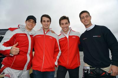 Audi R8 drivers Italian, Edoardo Mortara; Brit, Oliver Jarvis; Portuguese driver Filipe Albuquerque and South African Dion von Moltke.  (PRNewsFoto/Alex Job Racing)