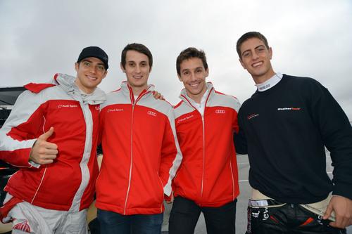 Audi R8 drivers Italian, Edoardo Mortara; Brit, Oliver Jarvis; Portuguese driver Filipe Albuquerque and South African Dion von Moltke. (PRNewsFoto/Alex Job Racing) (PRNewsFoto/ALEX JOB RACING)