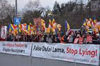 Buddhists demonstrate against the Dalai Lama in Switzerland accusing him of religious persecution, February 8th.