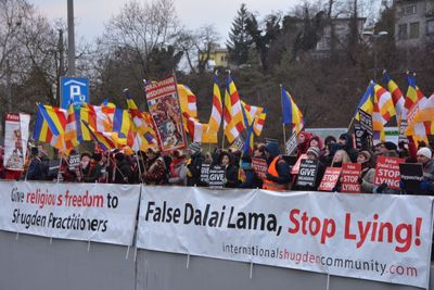 Buddhists demonstrate against the Dalai Lama in Switzerland accusing him of religious persecution, February 8th. (PRNewsFoto/International Shugden Community)