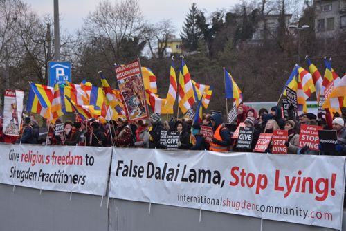 Buddhists demonstrate against the Dalai Lama in Switzerland accusing him of religious persecution, February ...