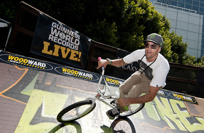 Jamie Bestwick sets new BMX World Record with Guinness World Records Live! at X Games Sixteen. (PRNewsFoto/Guinness World Records)