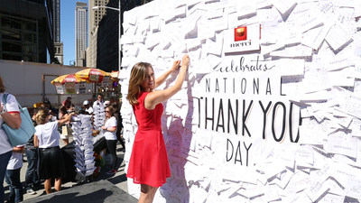 Good Morning America meteorologist and Dancing with the Stars contestant, Ginger Zee celebrated National Thank You Day with merci Chocolate in Columbus Circle, sharing a thank you note to her husband, Ben and 8-month-old son, Adrian that she posted to The merci Thank You Wall.