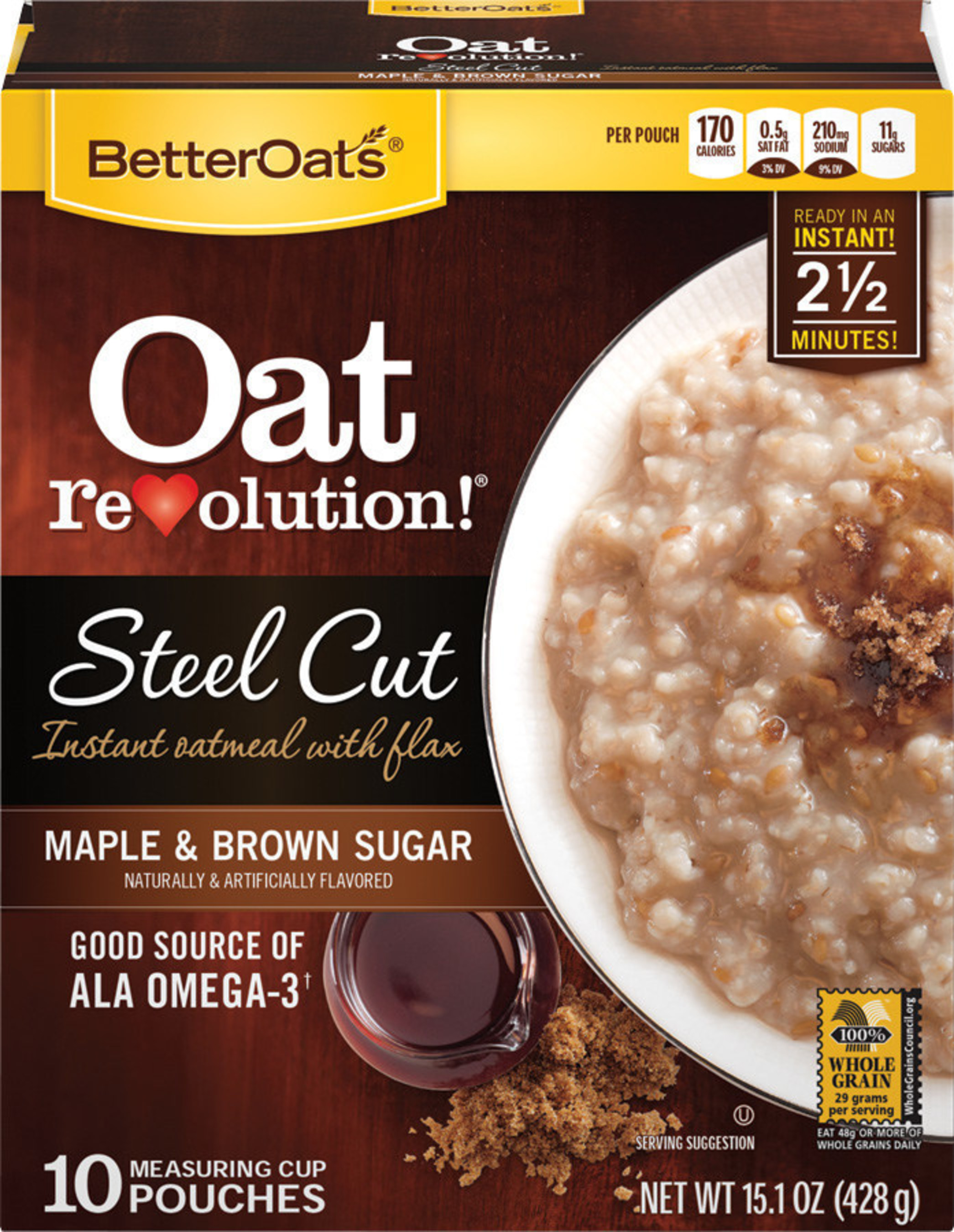 MOM Brands(R) Better Oats(R) Oat Revolution(R) Steel Cut Oatmeal was recently named a winner of Progressive Grocer's 2014 Editors' Picks Awards, the grocery industry's most esteemed new product recognition program. The product contains flaxseed, carries the 100 percent Whole Grain Stamp from the Whole Grains Council, and is a good source of fiber and ALA-Omega 3. Its premium steel cut oats are sliced thick to preserve their natural consistency, adding to the product's hearty taste and texture. (PRNewsFoto/MOM Brands)