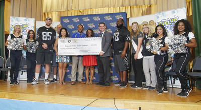 Representatives from the Oakland Raiders and Real California Milk awarded Hayward Unified School District with $20,000 in financial and in-kind resources to support new fitness and wellness programs through the Fuel Up to Play 60 program.