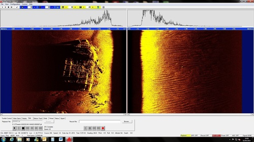 Side scan sonar image of LST 507 taken from the REMUS 100 (PRNewsFoto/Hydroid, Inc.)