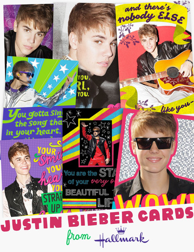 Hallmark announces first-of-its-kind Justin Bieber greeting cards. Debuting in stores in April, the collection will include more than 48 everyday cards.  (PRNewsFoto/Hallmark Cards, Inc.)