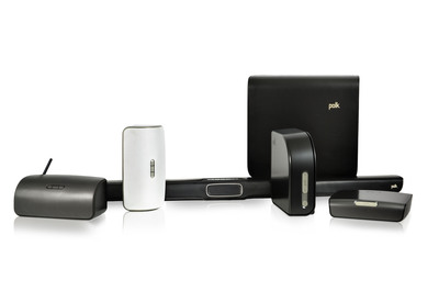 Polk's Omni Wireless Music System will be comprised of the S2 Wireless Speaker, the S2 Rechargeable Wireless Speaker, the SB1 Sound Bar with Included Subwoofer, the P1 Adaptor and A1 Amplifier. (PRNewsFoto/Polk)
