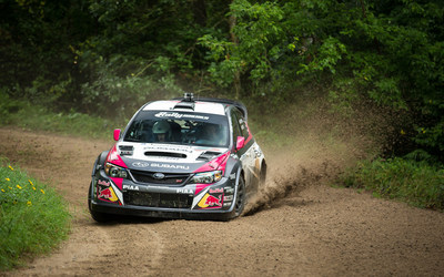 Travis Pastrana kept pressure on Subaru teammate David Higgins through most of the rally, until he was forced to retire on day 3.
