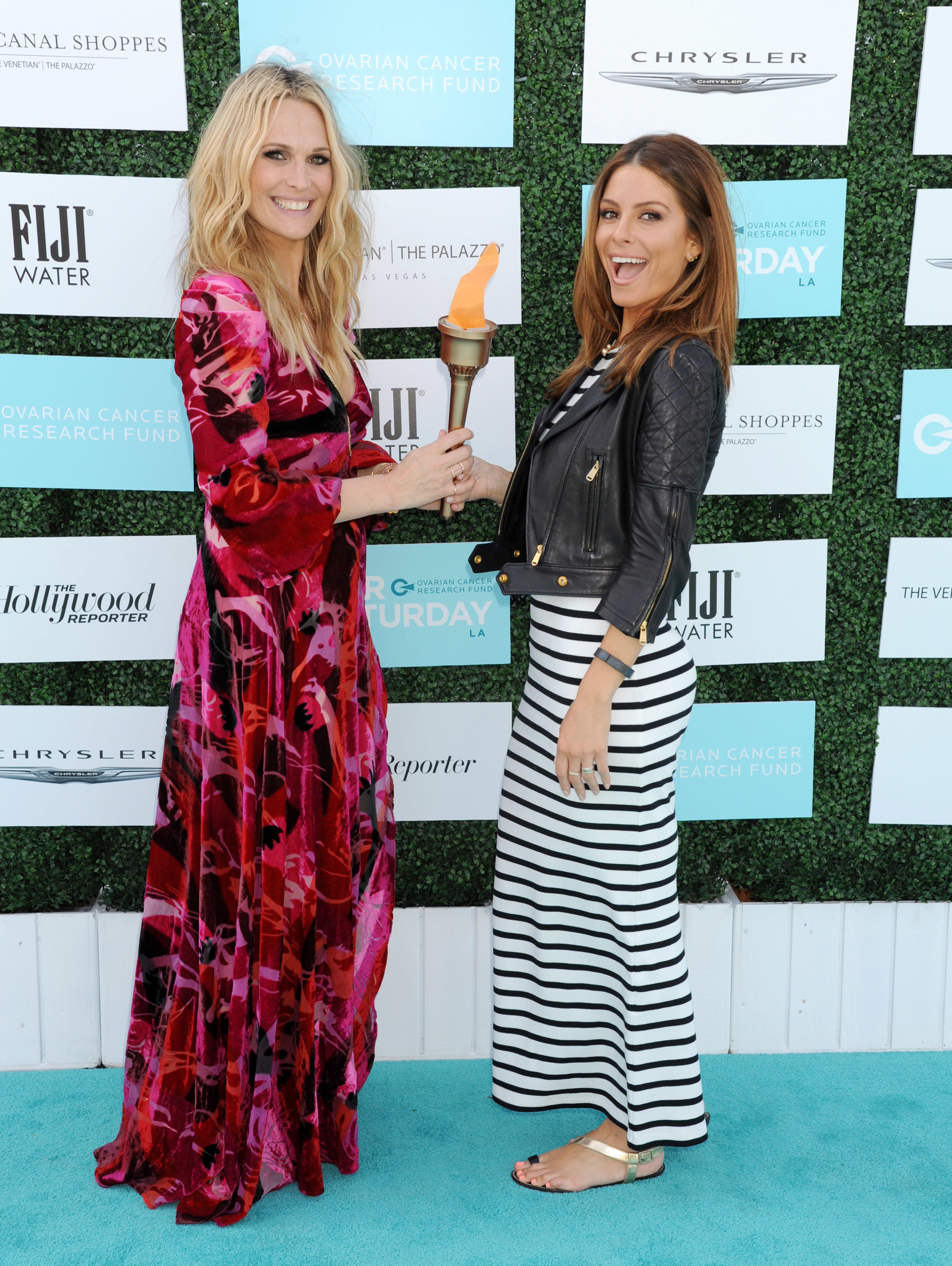 Molly Sims, host of Super Saturday LA passes the torch to Maria Menounos for Ovarian Cancer Research Fund's Super Saturday as it heads to Grand Canal Shoppes at The Venetian and The Palazzo in Las Vegas