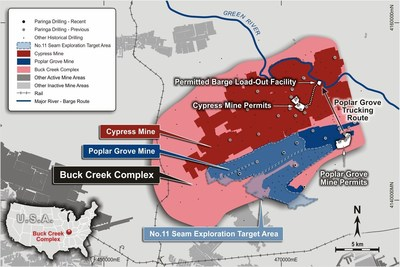 Figure 3: Buck Creek Complex including the Poplar Grove and Cypress Mine Plans and No.11 Exploration Target
