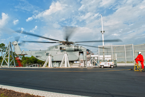 Sikorsky's CH-53K heavy lift helicopter spun the main and tail rotor blades for the first time April 17, at the company's Development Flight Center in West Palm Beach, Fla. Powered by its three GE 7,500 shaft horsepower class engines, the non-flying Ground Test Vehicle (pictured) begins a rigorous two-year test program of the rotor blades, transmission, engines and all subsystems while anchored to the ground. (PRNewsFoto/Sikorsky Aircraft Corporation)