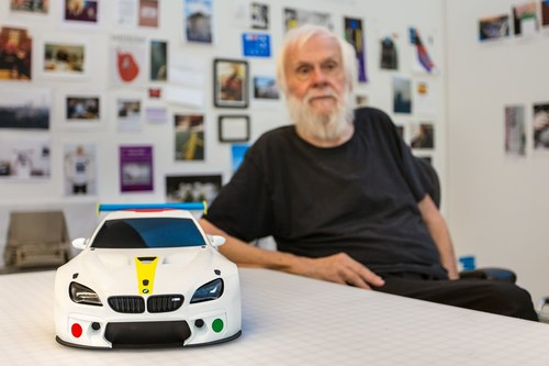 Contemporary American artist John Baldessari unveils the design study for 19th BMW Art Car at his California studio. The full-scale version of Baldessari's work will be unveiled at Art Basel Miami Beach on November 30, 2016. Courtesy of John Baldessari. (PRNewsFoto/BMW Group)