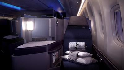 United Polaris seat at night.