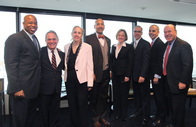 Stroock & Stroock & Lavan Hosts New York City's Five Borough Presidents.  Pictured, left to right:  Eric Adams, Brooklyn Borough President; Jerry H. Goldfeder, Stroock; Gail A. Brewer, Manhattan Borough President; Ruben Diaz Jr., Bronx Borough President; Melinda Katz, Queens Borough President; James S. Oddo, Staten Island Bureau President; Ross Moskowitz, Stroock; Robert Abrams, Stroock