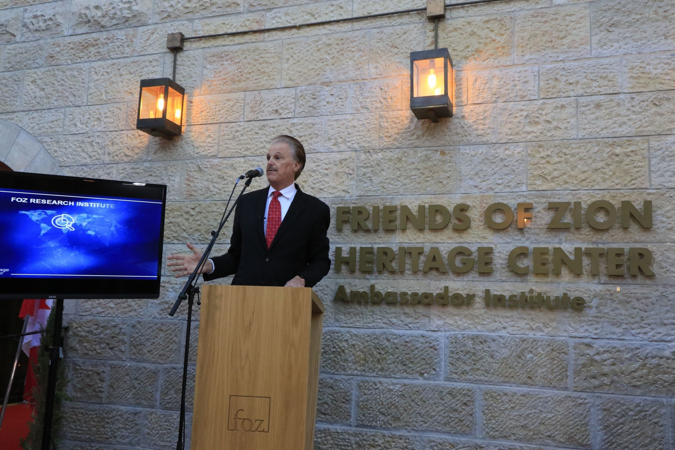 Dr. Mike Evans launches the Friends of Zion Ambassadors Institute, dedicated tocombatingAntisemitismin partnership with the Christian community,in the presence of 80 Diplomats at the Friends of Zion Museum in Jerusalem.