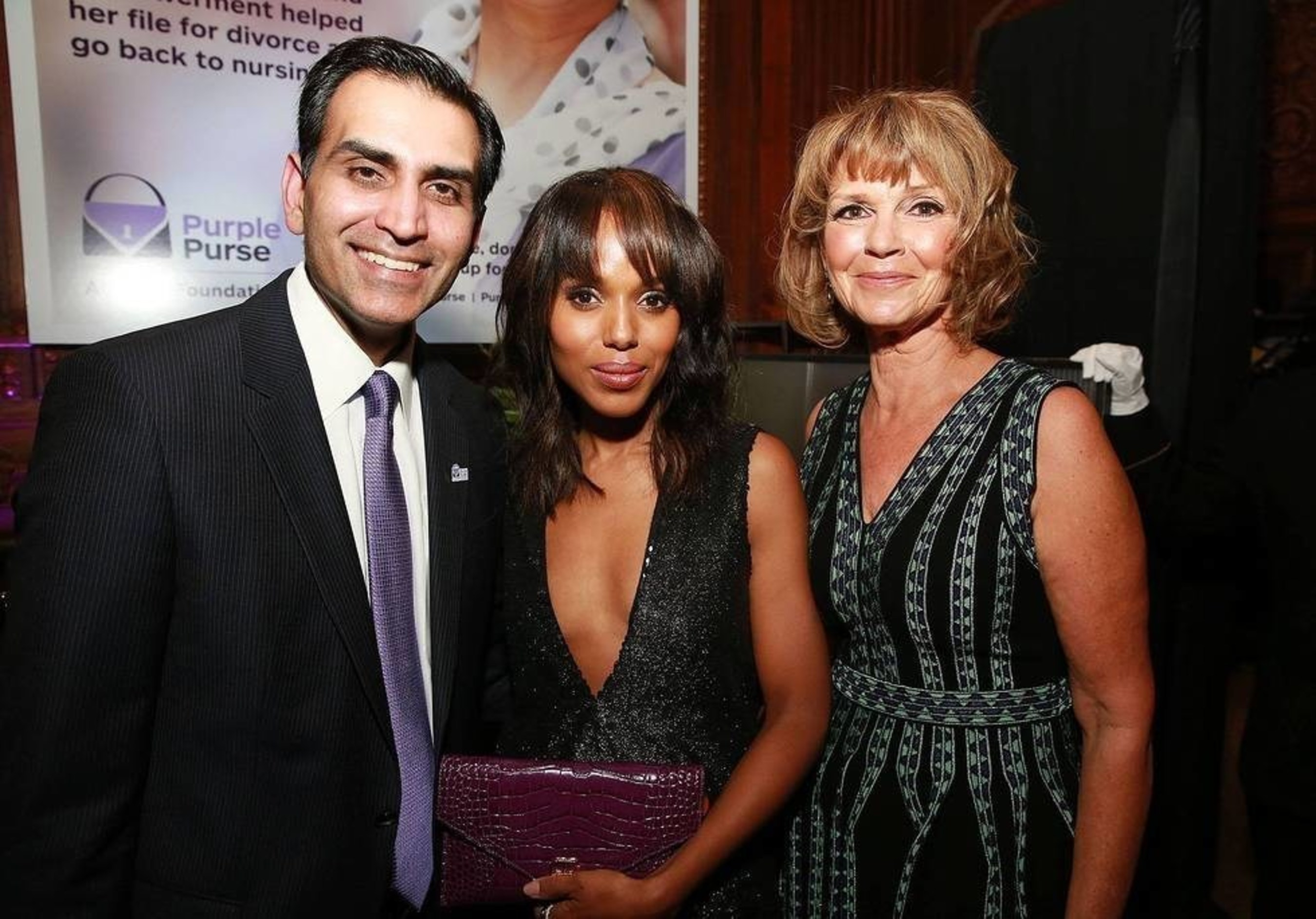 Sanjay Gupta (Allstate EVP), Vicky Dinges (Allstate Foundation SVP, CSR) and Kerry Washington