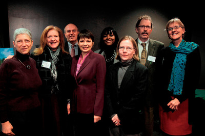 Science Museum of Minnesota Minnesota Conservation Leadership Award Winners Kate Wolford, President, McKnight Foundation; Page Knudsen Cowles, National Board Chair, The Trust for Public Land; Steve Cramer, President and CEO, Minneapolis Downtown Council; Senator Sandra L. Pappas, District 65, St. Paul; Rena Moran, District 65A, St. Paul; Susan Maki, Project Manager, Minnesota Department of Natural Resources; Commissioner Frank Jewell, St. Louis County; Susan Schmidt, Minnesota State Director, TPL. (PRNewsFoto/The Trust For Public Land) (PRNewsFoto/THE TRUST FOR PUBLIC LAND)