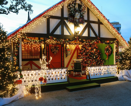 """Winter Wonderland"" – an annual holiday charity drive in downtown Clearwater featuring 5 village buildings, 100 live pine trees, a fully functioning stage with entertainment, tens of thousands of tiny white lights, pony & train rides, a ..."