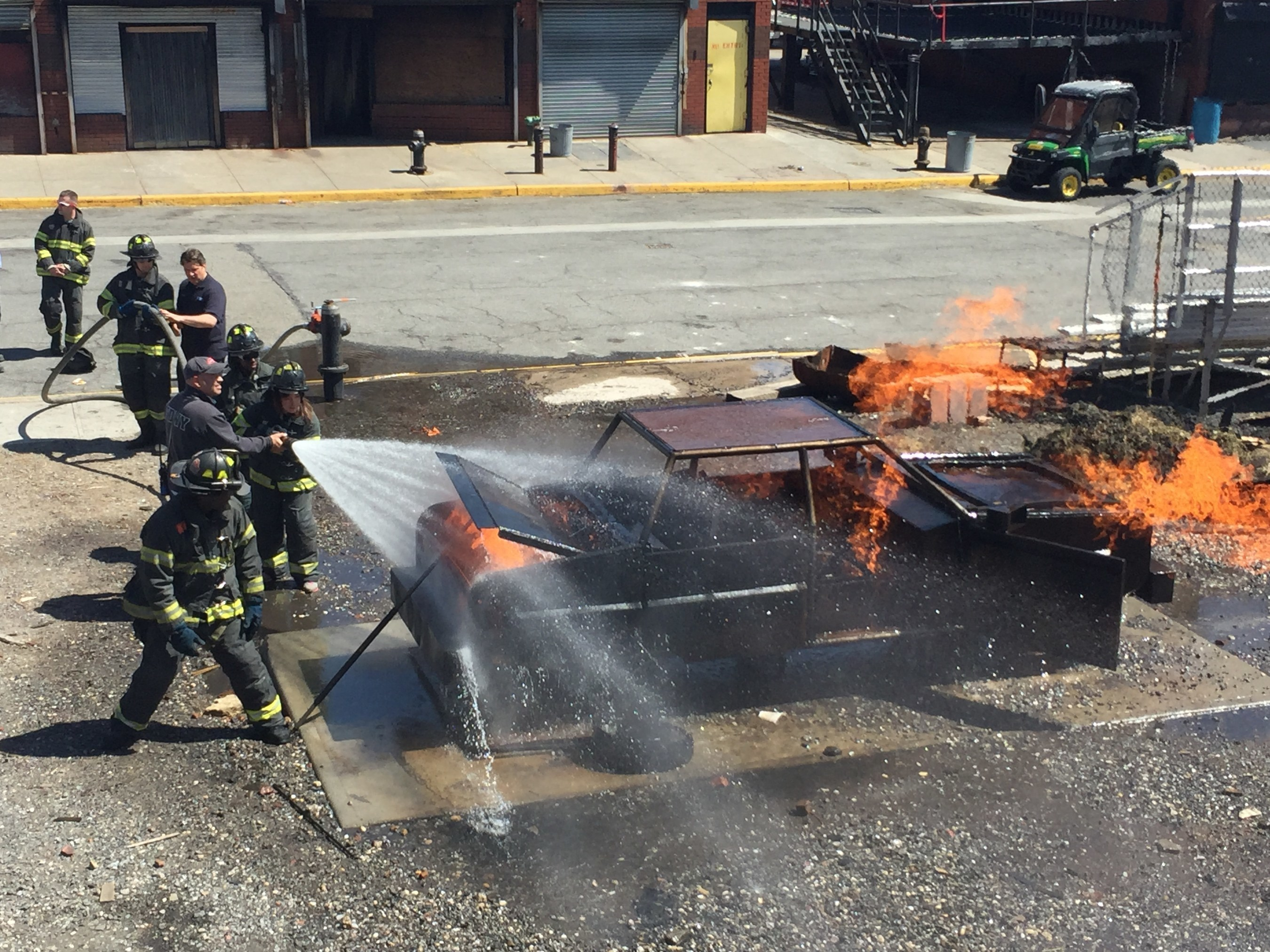 Teaching scenarios for wounded veterans included a simulated vehicle fire.