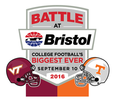 "Virginia Tech and Tennessee will play college football's biggest ever game at Bristol Motor Speedway.  The game deemed the ""Battle at Bristol"" will happen September 10, 2016.  (PRNewsFoto/Bristol Motor Speedway)"