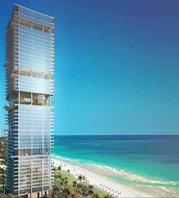 A rendering of Turnberry Ocean Club, a 52-story, 150-unit luxury condominium tower in Sunny Isles Beach, designed by Carlos Zapata, to be built by Turnberry Associates. Condos will be priced from $3 million to $22 million. (PRNewsFoto/Turnberry Ocean Club)