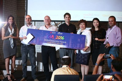 Boomerang, Aerial Guard & NiniSpeech together with representatives from the Chinese management consulting firm Shengjing Group and the internationally recognized VC firm, Jerusalem Venture Partners (JVP), which has led the competition in Israel. (PRNewsFoto/Jerusalem Venture Partners (JVP))