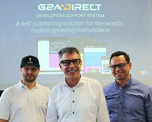 The G2A Direct Team - Left to Right, Mario Mirek - G2A Direct partnerships Manager, Scott Millard G2A Direct Lead and Patryk Kadlec, Head of Global Business Development. (PRNewsFoto/G2A.com)