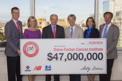 October 20, 2016 - The Pan-Mass Challenge announces $47 million milestone gift for cancer research and treatment at Dana-Farber Cancer Institute. Pictured from left to right: Sam Kennedy, president of the Boston Red Sox; Lisa Hughes, WBZ-TV anchor; Josh Bekenstein, co-chairman of Bain Capital and chairman of the Dana-Farber Board of Trustees; Billy Starr, founder and executive director of the Pan-Mass Challenge; Laurie Glimcher, M.D., president and chief executive officer of Dana-Farber Cancer Institute; David Fialkow, managing director for General Catalyst and chairman of the Pan-Mass Challenge Board of Trustees