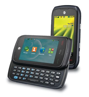 The Pantech Vybe(TM), available exclusively at AT&T stores nationwide and online at att.com, is an affordable, easy to use quick messaging phone with a large touchscreen display, slide-out keyboard, quick camera button, social media shortcuts and the ability to customize multiple homescreens with favorite apps and web bookmarks. (PRNewsFoto/Pantech Mobile)