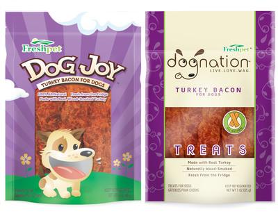 Freshpet Dog Joy and Dog Nation Turkey Bacon.  (PRNewsFoto/Freshpet)