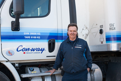 Con-way Freight Driver Sales Representative, Clary Ward, is honored for winning first place in the Single-Single class at the Canadian National Professional Truck Driving Championships.  (PRNewsFoto/Con-way Freight)