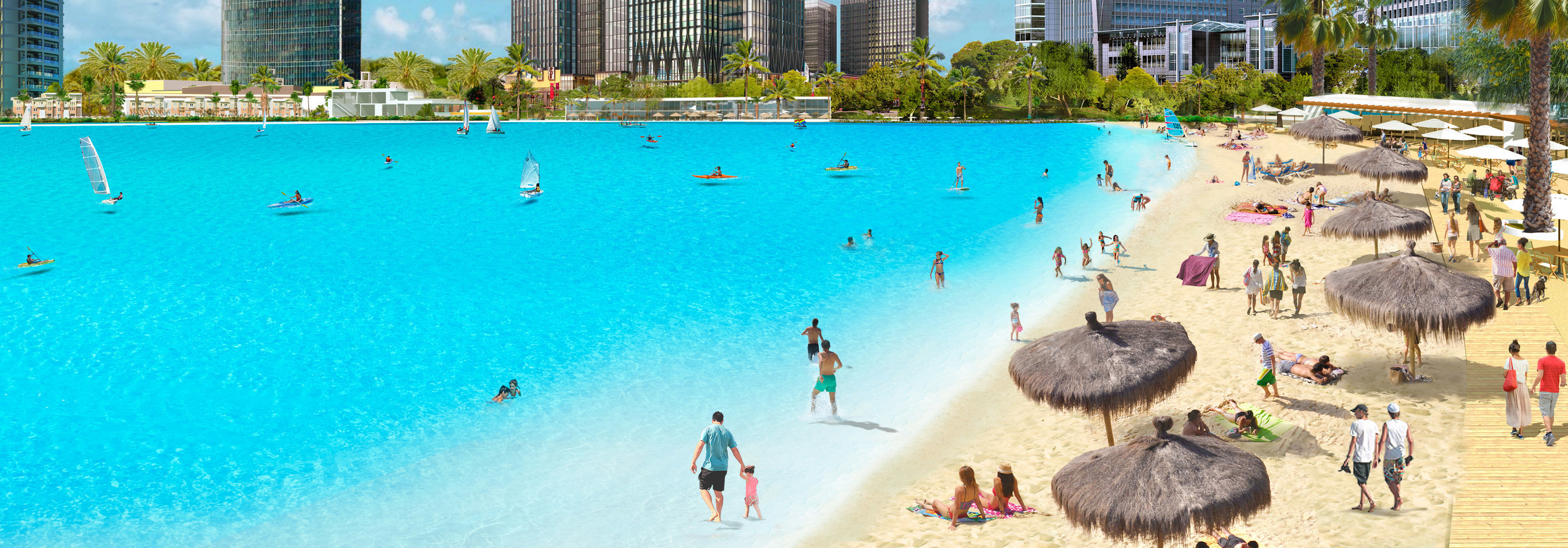 Crystal Lagoons Concept Idyllic Beach Life Water Sports Please Note Rendering