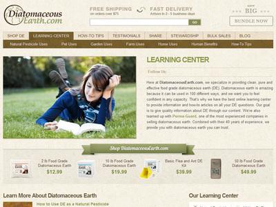 Screenshot of DiatomaceousEarth.com's online learning center. (PRNewsFoto/DiatomaceousEarth.com)