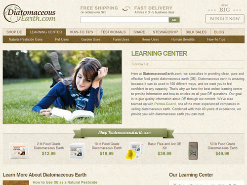 Screenshot of DiatomaceousEarth.com's online learning center. (PRNewsFoto/DiatomaceousEarth.com)