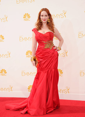 Christina Hendricks wearing gold Neil Lane jewelry at the 66th Annual Primetime Emmy Awards (PRNewsFoto/LoveGold)