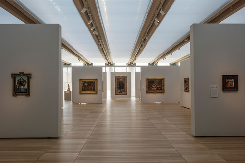 South gallery, featuring works by Michelangelo, Poussin, Velazquez, and Fra Angelico from the Kimbell's ...