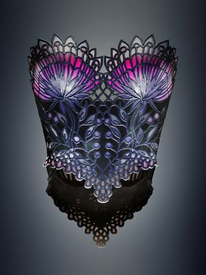 Michaella Janse van Vuuren designed Stained Glass corset combining rigid, flexible, color and transparent materials produced on an Objet500 Connex3 Color Multi-material 3D Printer