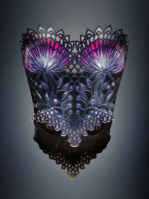 Michaella Janse van Vuuren designed Stained Glass corset combining rigid, flexible, color and transparent materials produced on an Objet500 Connex3 Color Multi-material 3D Printer (PRNewsFoto/Stratasys Ltd.)
