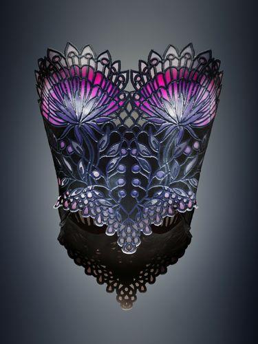 Michaella Janse van Vuuren designed Stained Glass corset combining rigid, flexible, color and transparent ...