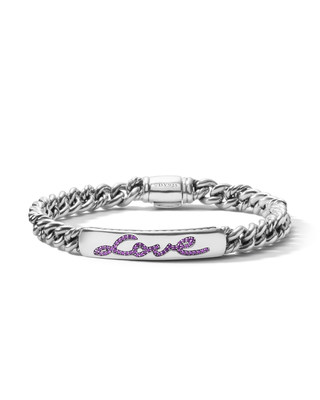 """David Yurman's """"Support a Cure"""" curated shop that will benefit The Breast Cancer Research Foundation(R) (BCRF) will include the Petite Pave """"Love"""" ID bracelet in sterling silver with pink sapphires with a retail price of $895 (PRNewsFoto/David Yurman)"""
