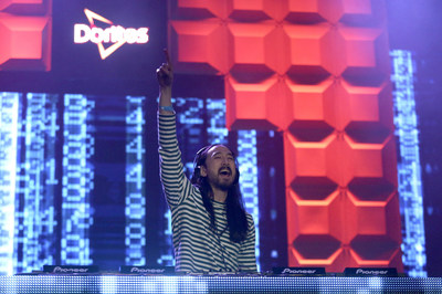 Steve Aoki, renowned house DJ and 2013 Grammy Awards nominee, headlines the first of three nights of interactive shows at the Doritos #MixArcade at E3 on Tuesday, June 14, 2016 in Los Angeles. (Photo by Matt Sayles/Invision for Doritos/AP Images)