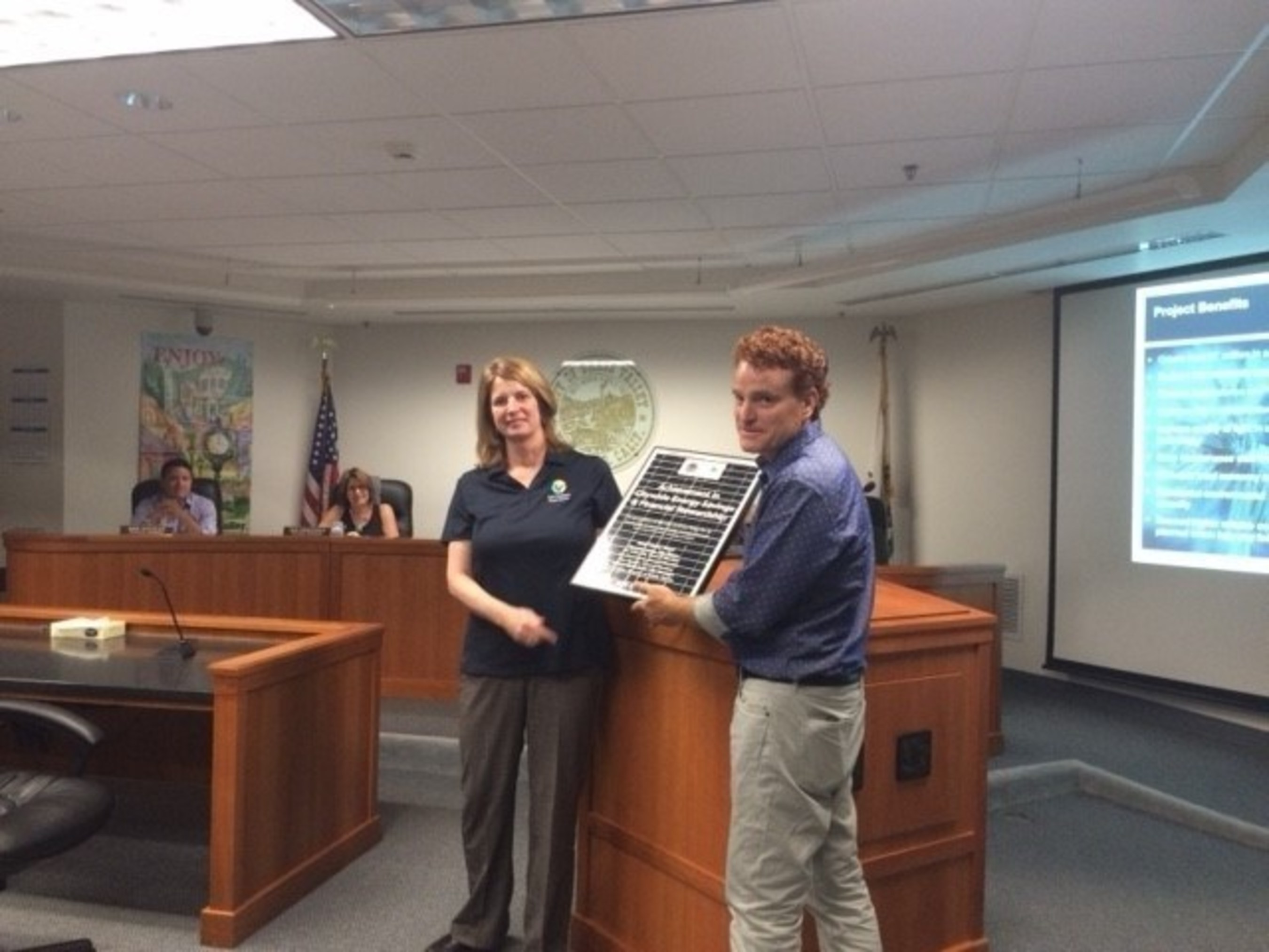 City of Grass Valley receives recognition for achievements in sustainability from OpTerra Energy Services at the June 28th City Council Meeting.