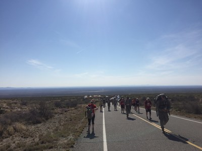 Wounded Warrior Project Alumni marching during  the Bataan Memorial Death March.