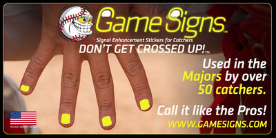Game Signs Signal Enhancement Stickers for Catchers. Don't Get Crossed Up!.  (PRNewsFoto/GameSigns.com)
